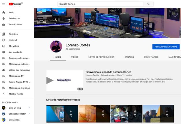 Canal YouTube Lorenzo Cortés
